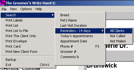 Menu showing search options for pet grooming software.