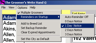 Menu showing Reminder options for pet grooming software.