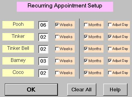 Function for setting up recurring pet grooming appointments.
