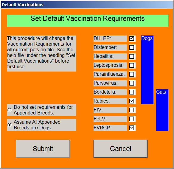 Pet vaccination requirement settings groomers select.